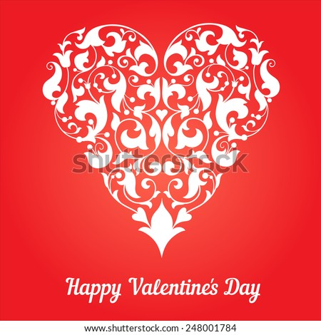 Valentines Day Party  Design. Vector template of invitation, poster or greeting card.  Valentine Heart. Ornament with heart and leaves. - stock vector