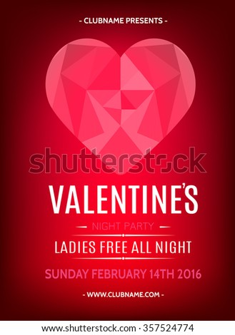 Valentines Day Party Flyer Design. Polygonal graphics Heart. Vector template of invitation, flyer, poster or greeting card.  - stock vector