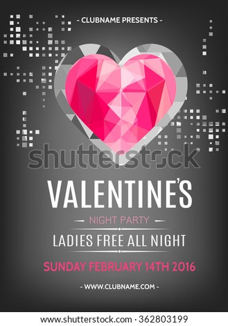 Valentines Day Party Flyer Design Ruby Stock Vector (2018) 362803199 ...