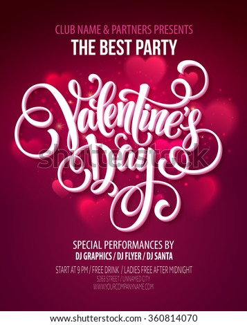 Valentines Day Party Flyer. Vector illustration EPS10 - stock vector