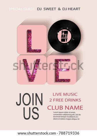 Valentines day party invitation card letters stock vector 788719336 valentines day party invitation card with letters love and vinyl plate vector illustration stopboris Images