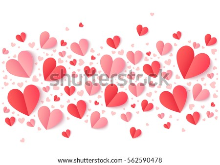 Valentines Day pink and red paper hearts line, vector holiday background