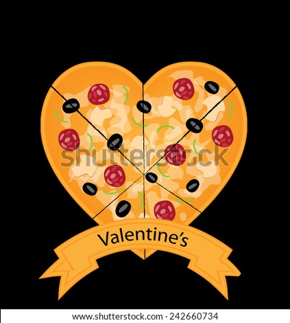 Valentines day pizza vector design  - stock vector