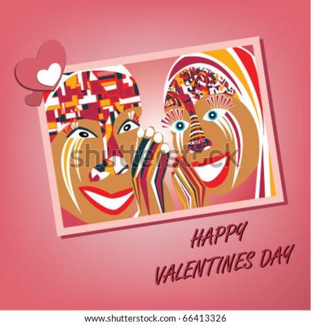 Valentines day postcard - stock vector