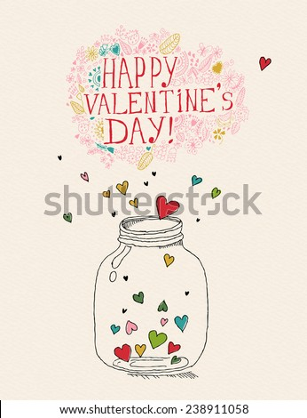 Valentines day poster. Bottle with hearts. Hand-drawn vector illustration. Doodle design. Greeting card for Valentine day. - stock vector