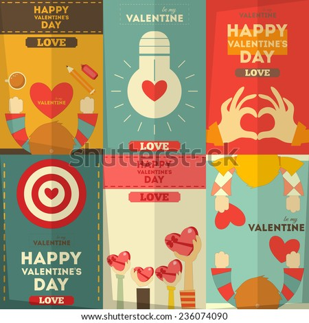 Valentines Day Posters Collection in Cartoon Style. Vector Illustration. - stock vector