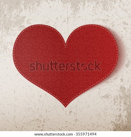Valentines Day realistic big red Heart Banner. Vector illustration - stock vector