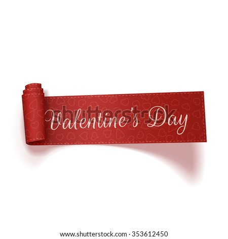 Valentines Day realistic red scroll Ribbon on white Background. Vector Illustration - stock vector