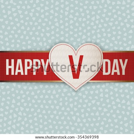 Valentines Day realistic white Label on red Ribbon. Vector illustration - stock vector