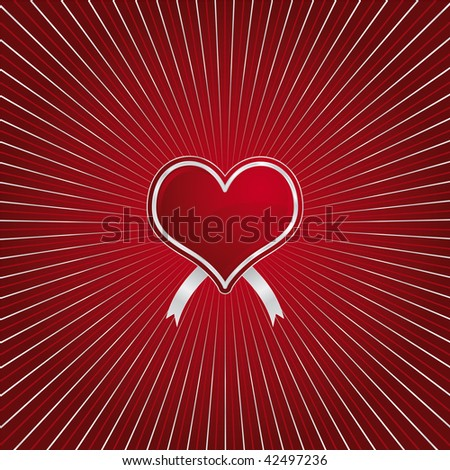 Valentines day - red heart on a red and silver sun effect background