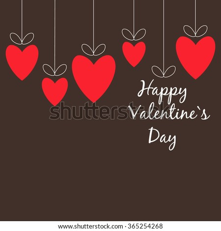 Valentines Day red hearts on brown background - stock vector