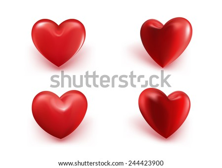 Valentines Day Red Sweet Balloon Hearts. 3D Vector Illustration - stock vector