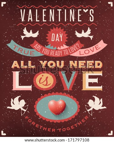 Valentines day retro style poster - stock vector