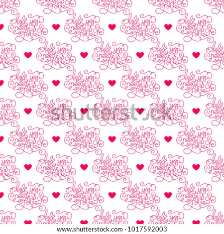 Valentines day romantic phrases pattern background stock vector romantic phrases pattern background template for a business card banner colourmoves Images