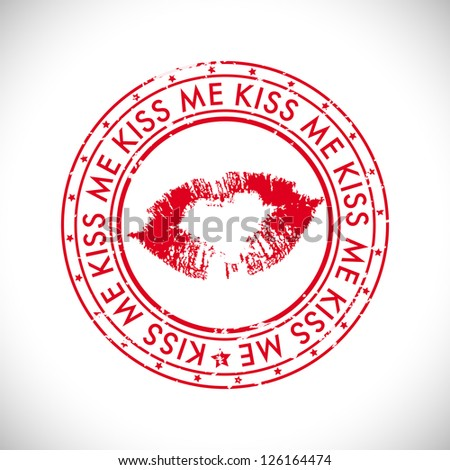 Valentines Day rubber stamp with text kiss me. - stock vector