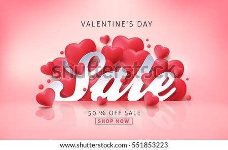 Valentines day sale background with Heart Shaped Balloons. Vector illustration.banners.Wallpaper.flyers, invitation, posters, brochure, voucher discount.