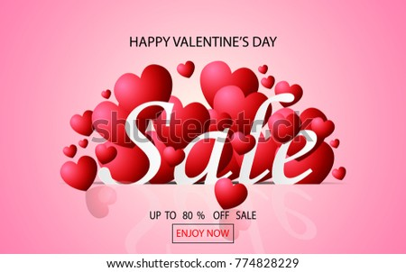 Valentines Day Sale Background Heart Shaped Stock Vector 774828229 ...