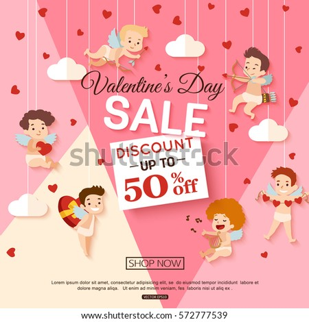 Valentines Day Sale Banner Cupid Campaign Stock Vector (2018 ...