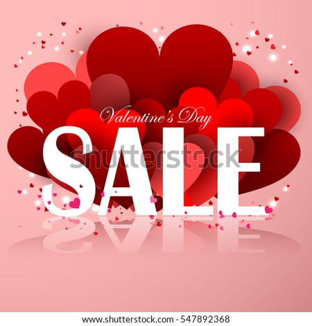 Valentines Day Sale Offer. Elegant Background With Paper Hearts. 3D Vector  Illustration