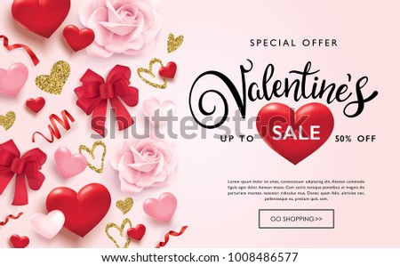 Valentines day sale poster with hearts, ribbons and golden glitter hearts