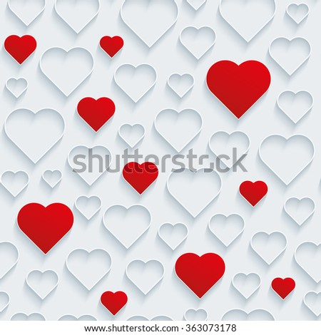 Valentines Day seamless background. Red and outline white hearts. - stock vector