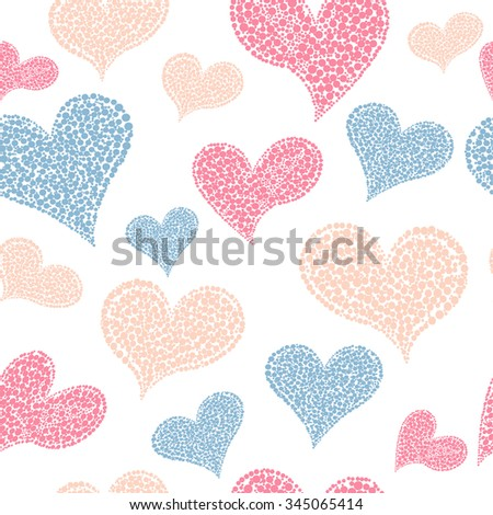 Valentines Day seamless background with hearts vector.EPS 10