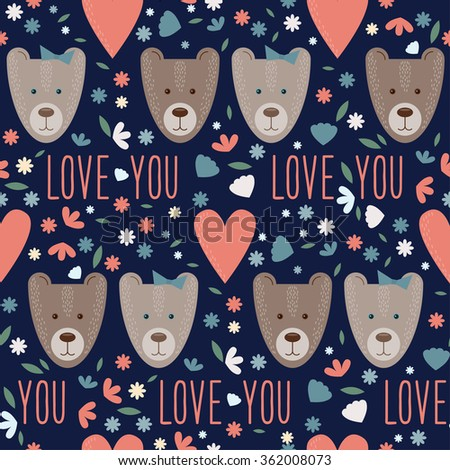 Valentines day seamless pattern background with funny cartoon bears and hearts