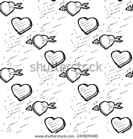 Valentines Day seamless pattern with heart sketches - stock vector