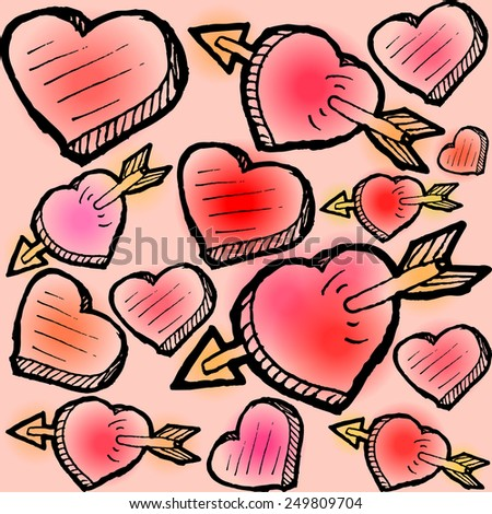 Valentines Day seamless pattern with scattered heart sketches - stock vector