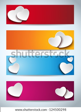 Valentines Day Set of Four Web Banners - stock vector