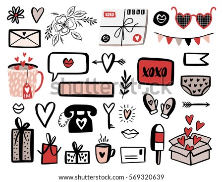 Valentines Day Set With Love Elements Heart Overlays Speech Bubbles And Etc