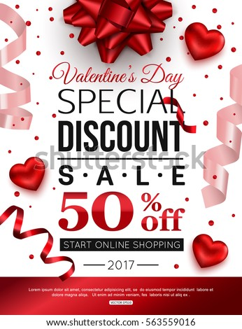valentines day special discount online shopping stock vector, Ideas