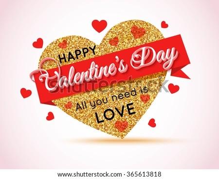 Valentines Day Super Sale Banner. Gold Heart Banner. Gold Sale Banner. Template for advertising poster, brochure, flyer, banner, header, poster. 50% Discount Banner. Holiday Banner. 50s. 50% off. - stock vector