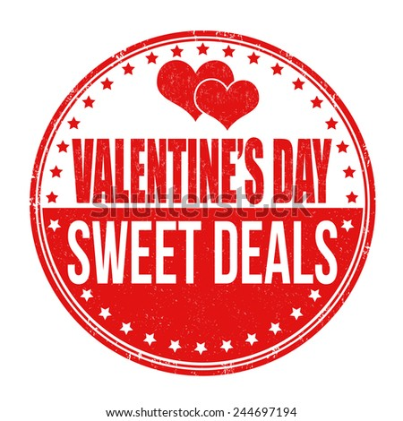 Valentines Day sweet deals grunge rubber stamp on white background, vector illustration - stock vector