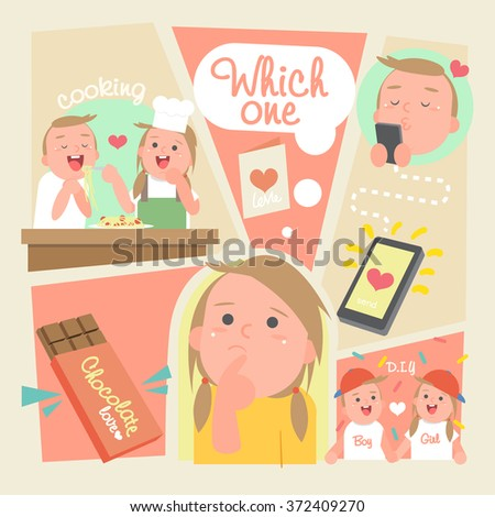 Valentines day The Girl choose Valentine gift -Vector-illustration