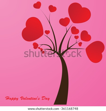 Valentines day. Tree of Love red heart. Vector illustration