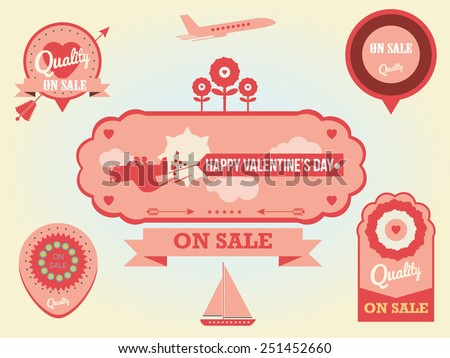 valentines day vintage labels Imagination and love concept, airplane flying - stock vector