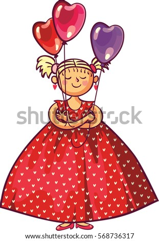 Valentines day, wedding gift greeting card. Love woman smiling holding red heart shaped balloons.