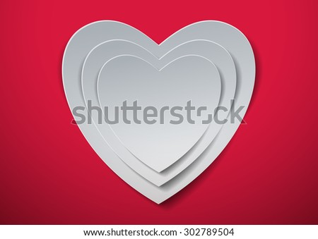 Valentines Day. White Hearts cut out from Paper, Vector Illustration - stock vector