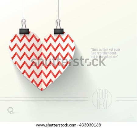 Valentines Day Zig Zag Style Vector Design Heart for Your Festive Event Invitation - stock vector