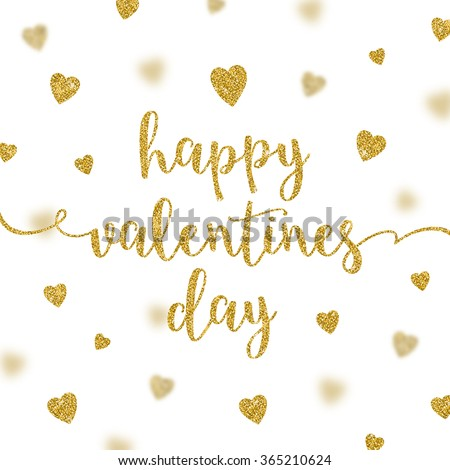 Valentines greeting card - glitter gold calligraphy - stock vector