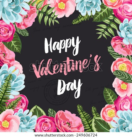 Valentines greeting card with painted flowers on black seamless lettering background. Vector illustration - stock vector