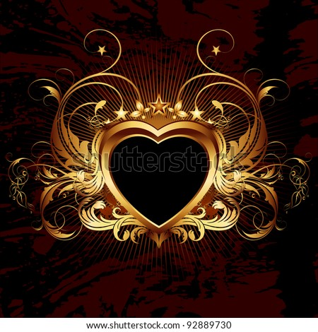 valentines heart frame - stock vector