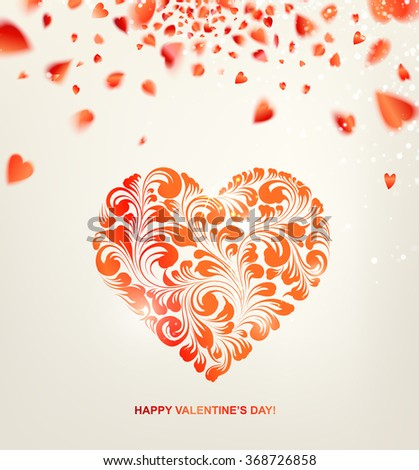 Valentines heart with sparks and confetti over gray. Happy Valentines Day greeting card. Vector illustration. - stock vector