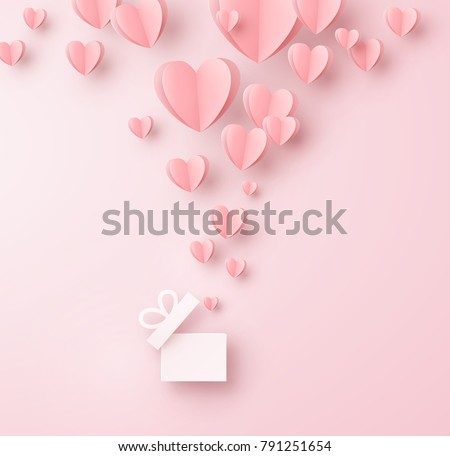 Valentines hearts with gift box postcard. Paper flying elements on pink background. Vector symbols of love in shape of heart for Happy Women's, Mother's, Valentine's Day, birthday greeting card design
