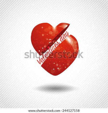 Valentines light card, easy editable. Two Parts of Heart are Around the Letter Valentine's Day. Abstract Glow Soft Heart for Valentines Day on Minimalistic Background Design. Vector Illustration - stock vector