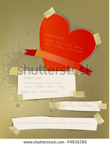 valentines paper for notes - stock vector