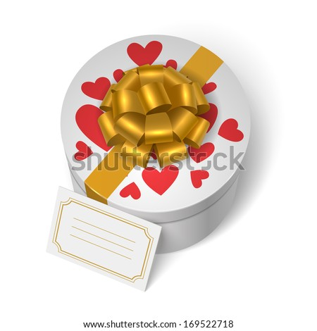 Valentines present box with red hearts, yellow ribbon with bow and blank love message card vector illustration - stock vector