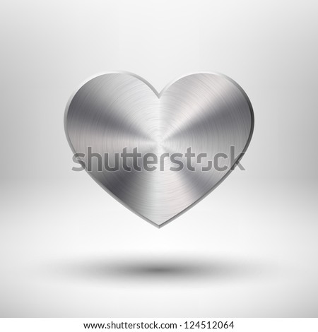 Valentines's day heart with metal (chrome, stainless steel, iron, silver) texture, light background and shadow for web sites, user interfaces (ui) and applications (apps). Vector illustration. - stock vector