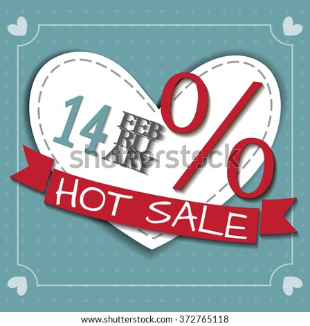 Valentines Sale Flyer. Discount offer. Vector greeting background. Perfect template for poster, banner, festive card, advertisement. Blue romantic backdrop with type elements and hearts - stock vector